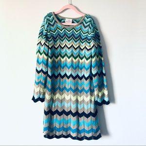 Hanna Andersson girls chevron sweater dress sz 130